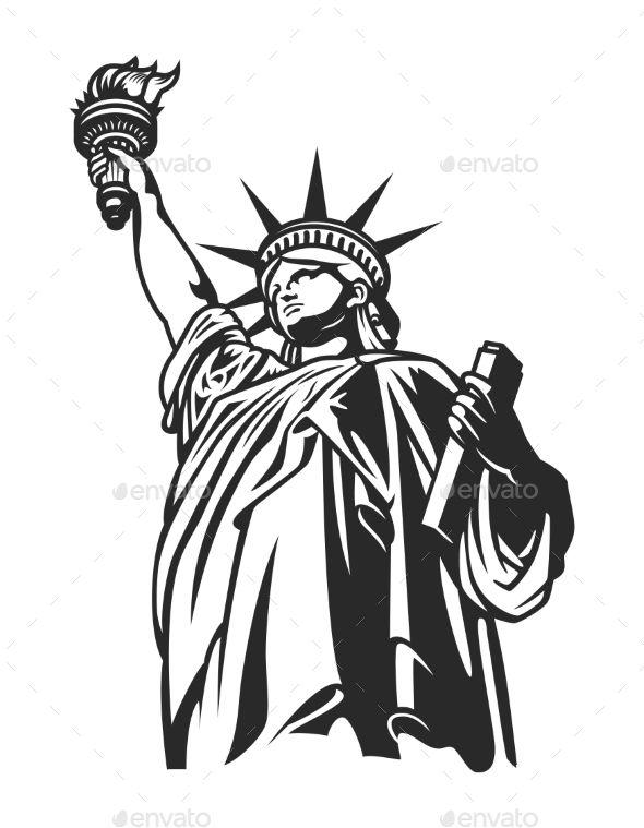 Monochrome American Statue of Liberty Concept in 2019.