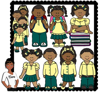 Clip Art~ African American Students Wearing Uniforms in 2019.