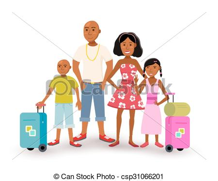 Vector Clipart of African american family summer vacation travel.