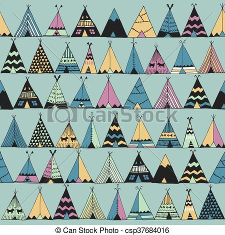 Vector Clip Art of Teepee native american summer tent..