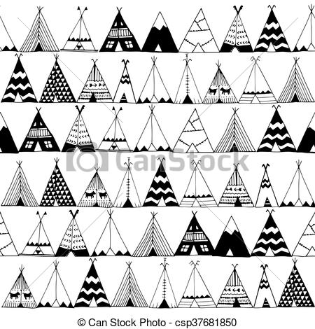 Clipart Vector of Teepee native american summer tent illustration.