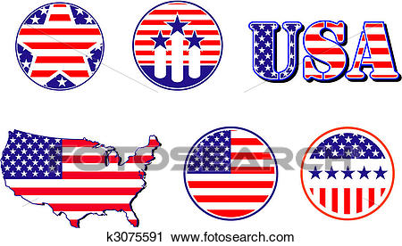 American patriotic symbols Clipart.