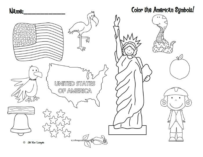 Color the American Symbols\