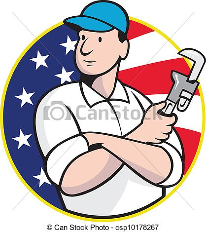 Worker with wrench Vector Clipart Illustrations. 2,516.