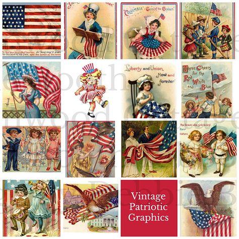 Vintage Americana Patriotic Flag Squares.