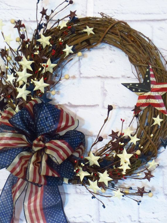 Patriotic Wreath Americana Wreath Rustic Red White by.