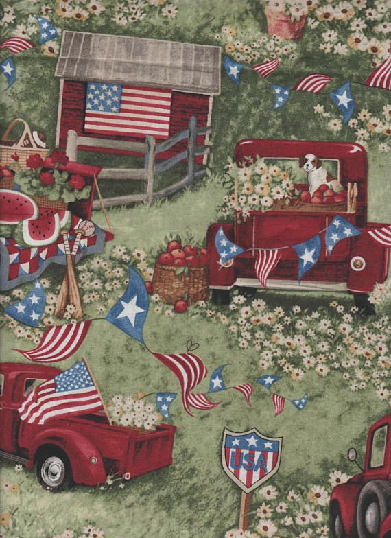 Americana Patriotic Red Ford Truck Flag Watermelon fabric.