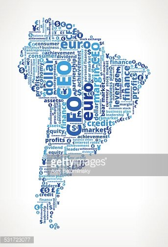 South America On Business Word Cloud Pattern Clipart Image.