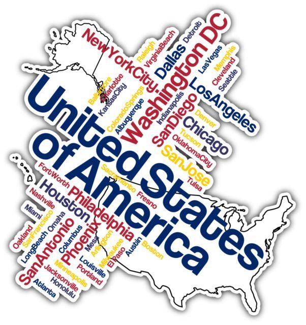United States America USA Word Cloud Car Bumper Window Mirror Sticker Decal  4X5\