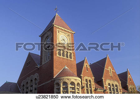 Stock Photography of Amherst, MA, Massachusetts, Town Hall in.