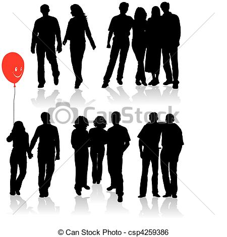 Clip Art Vector of Vector silhouettes friends (man and women.