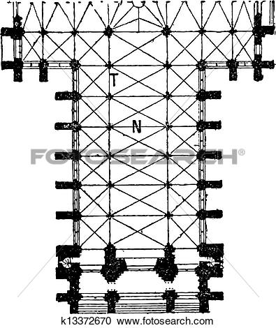 Clipart of Floor Plan of the Nave of the Amiens Cathedral in.
