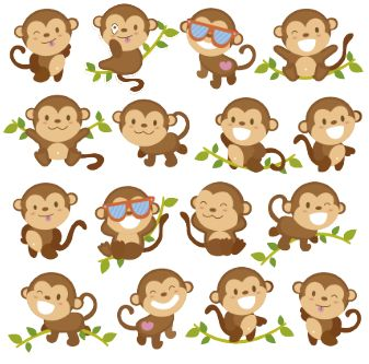 Este clip art me recuerda a una amiga que le encantan los monos, o.