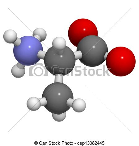 Drawing of Alanine (Ala, A) amino acid, molecular model. Amino.
