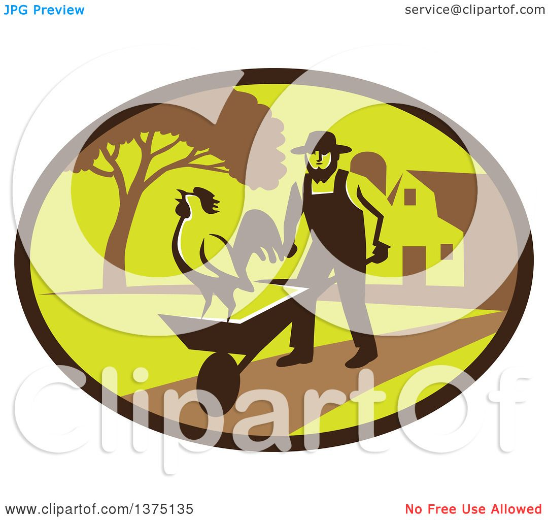 Clipart of a Retro Amish Farmer Man Pushing a Wheelbarrow with a.