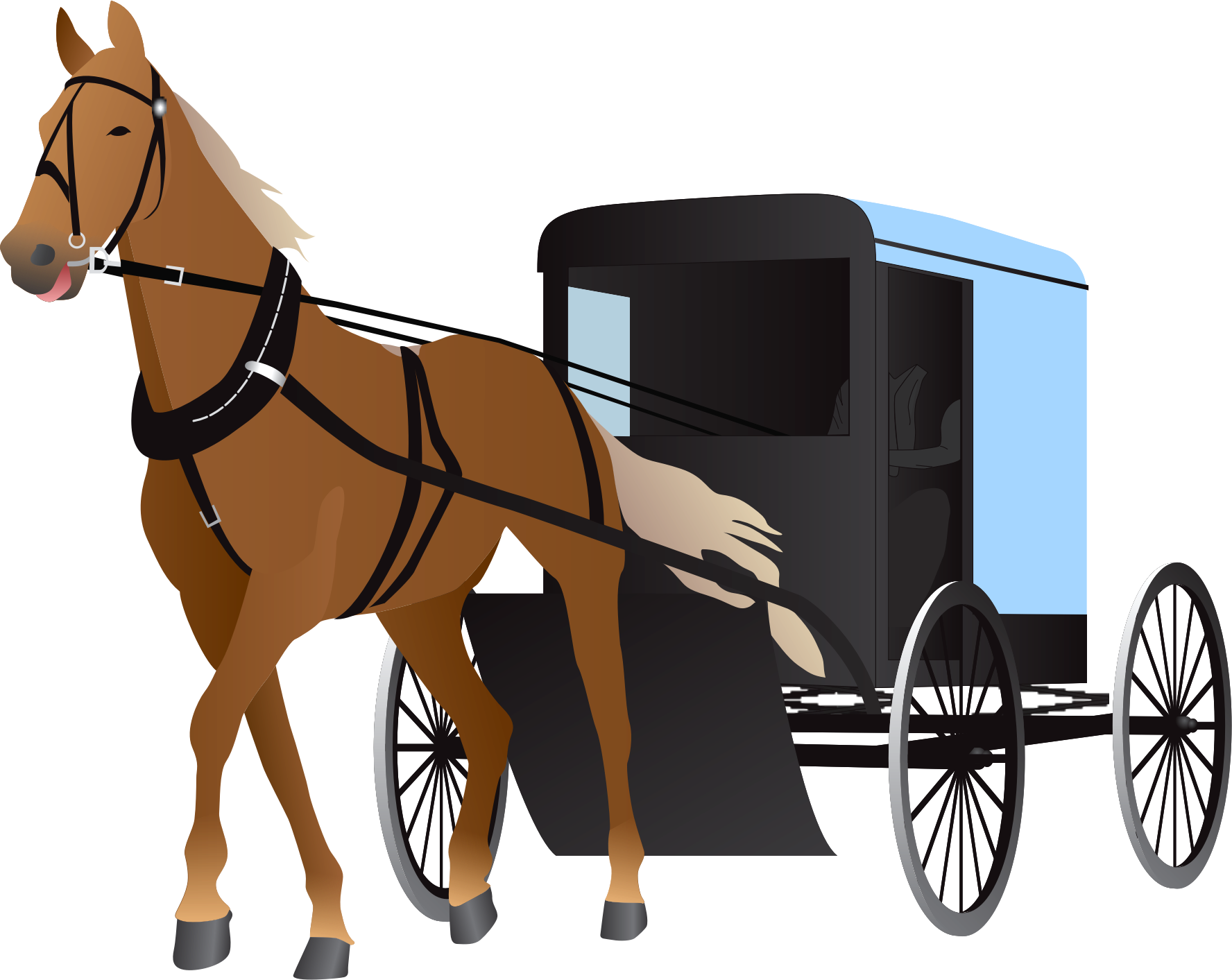 Horse and buggy Carriage Clip art.