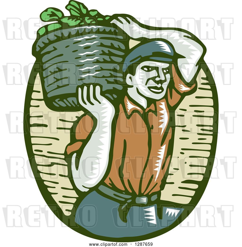 Vector Clip Art of Retro Woodcut Male Farmer Carring a.
