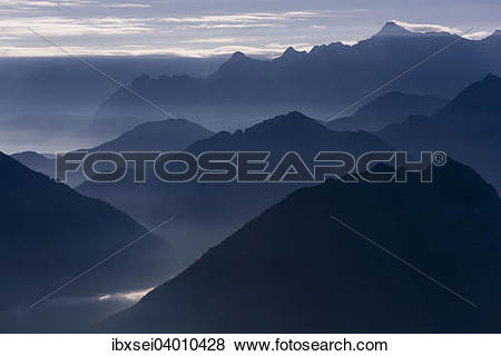 """Pictures of """"Blue hour with mountain peaks of the Ammer Mountains."""
