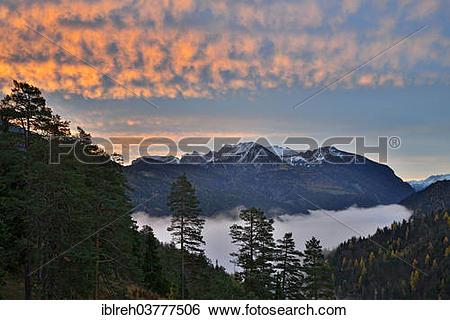 "Stock Images of ""Rofan Mountain Range at sunrise, from Brundlalm."
