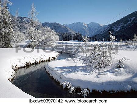 "Stock Photo of ""Estergebirge and Kleine Ammer from Ettaler."