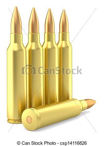 Clipart of Xray large caliber rifle ammunition cartridge on black.