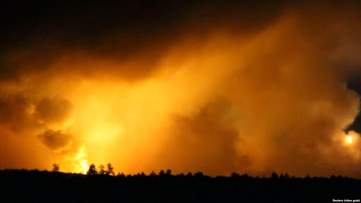 Thousands Evacuated As Blasts, Blaze Rip Through Ukraine.