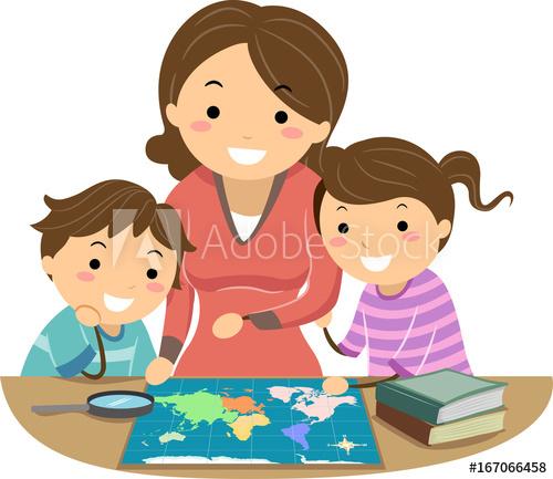 Stickman Family Mom Kids Map.