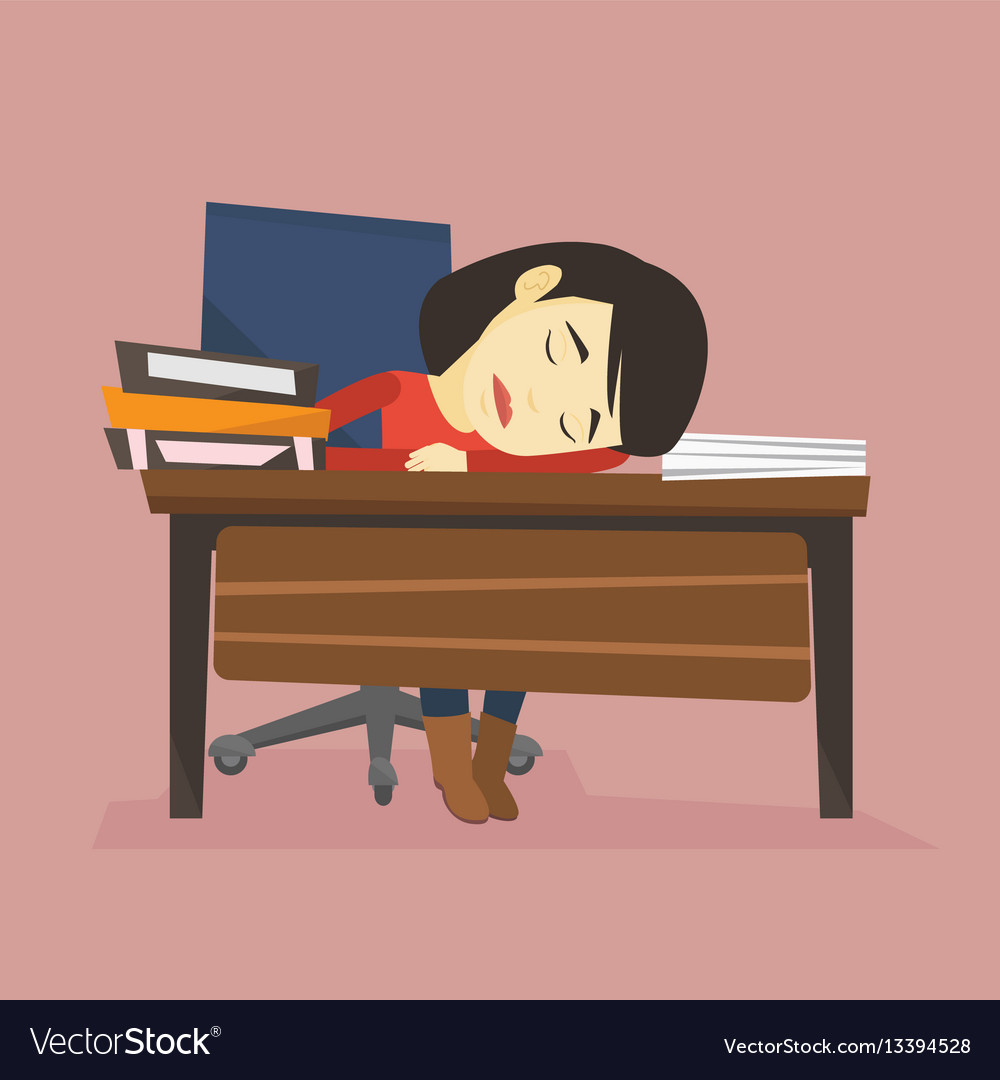 Student sleeping at the desk with book.