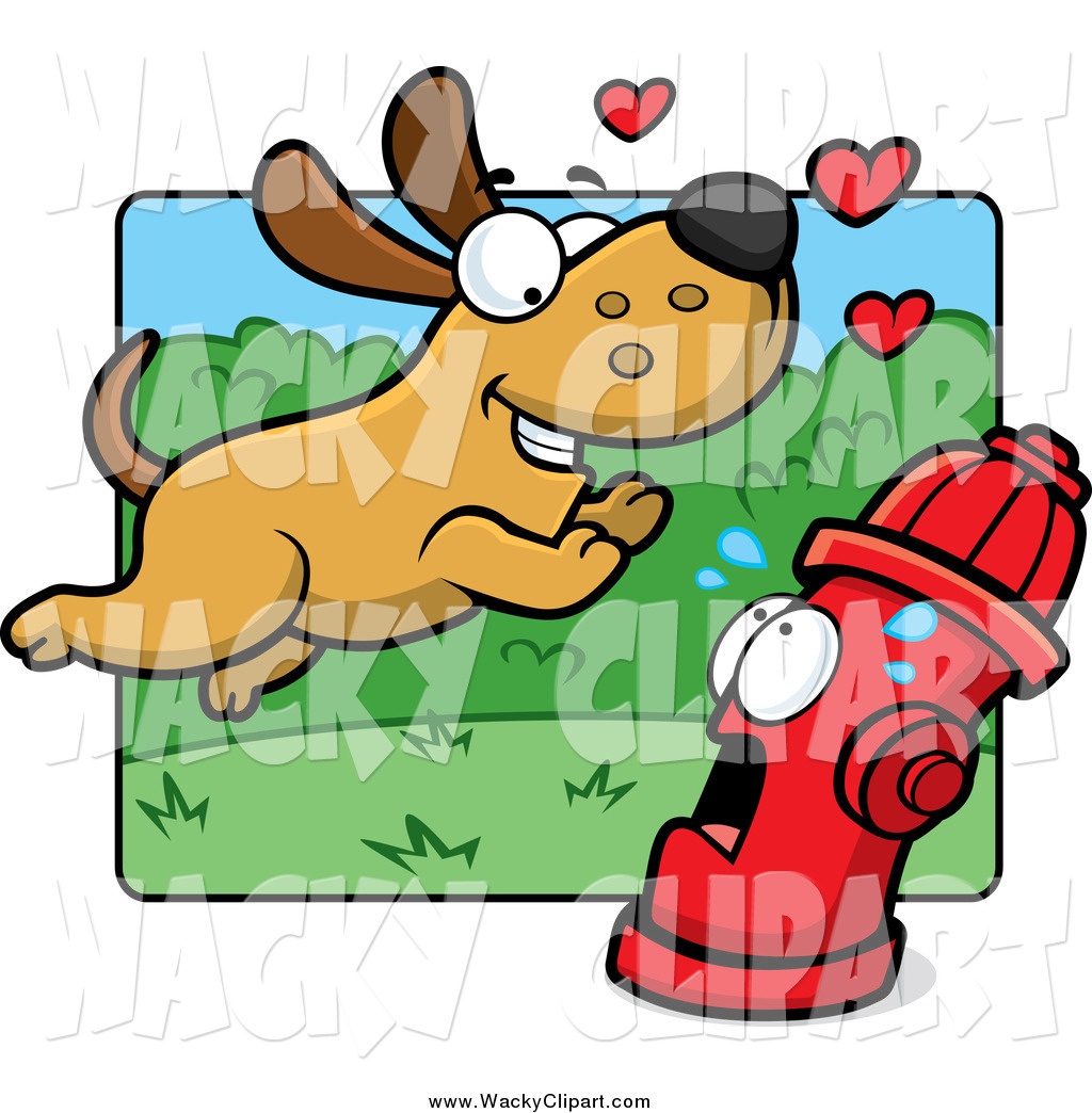 Clipart of a Amorous Dog Running Towards a Scared Fire Hydrant by.