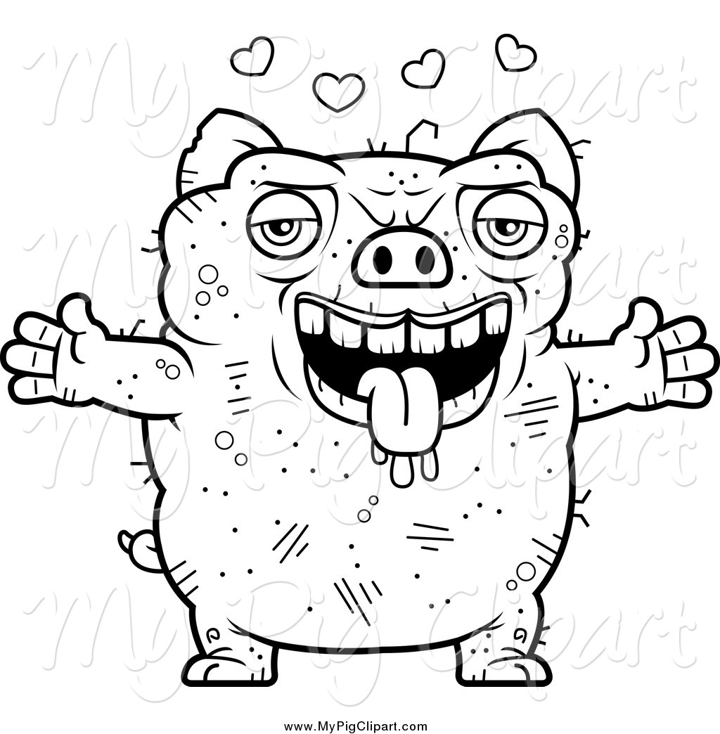 Swine Clipart of a Black and White Amorous Ugly Pig by Cory Thoman.