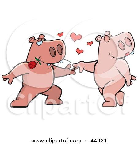 Cartoon Clipart Of A Black And White Amorous Hippo Character.