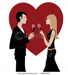 Happy Amorous Couple Celebrating with Red Wine Clipart Picture.