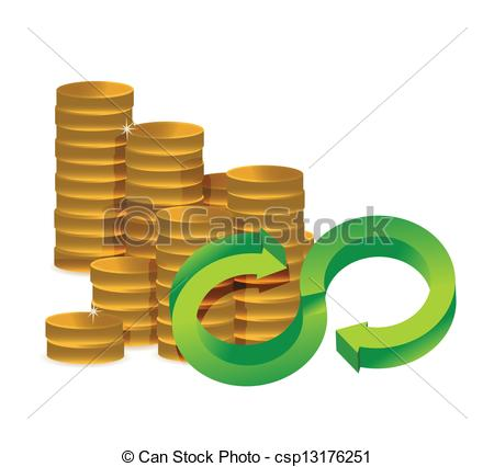 Clipart Vector of Unlimited amount of money infinity coins concept.