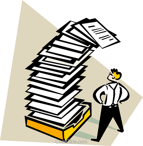 overwhelming amount of paperwork Royalty Free Vector Clip Art.