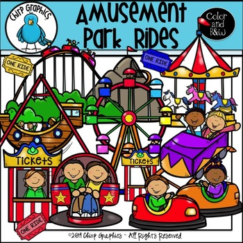 Amusement Park Rides Clip Art Set.