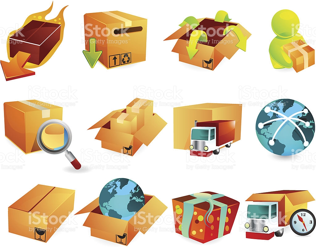 Packaging Amp Shipping Icons stock vector art 165593628.