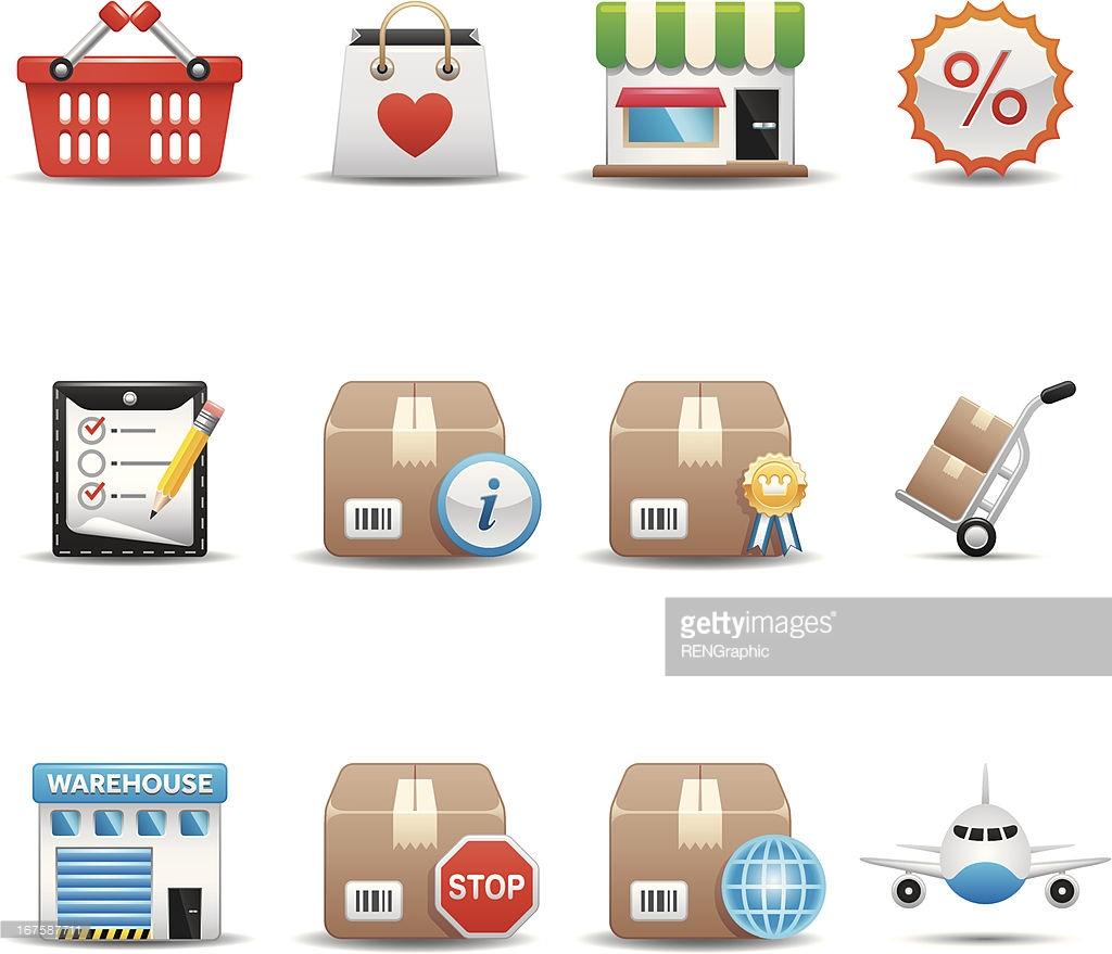 Shopping Amp Shipping Icon Set Elegant Series Vector Art.