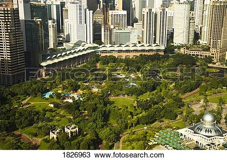 Stock Photo of Aerial View of Ampang Park, Capital of Malaysia.