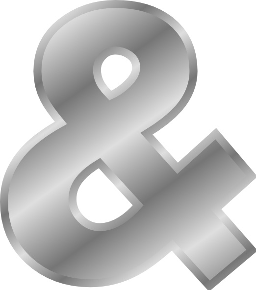 Ampersand Effect Letters Alphabet Silver clip art Free vector in.
