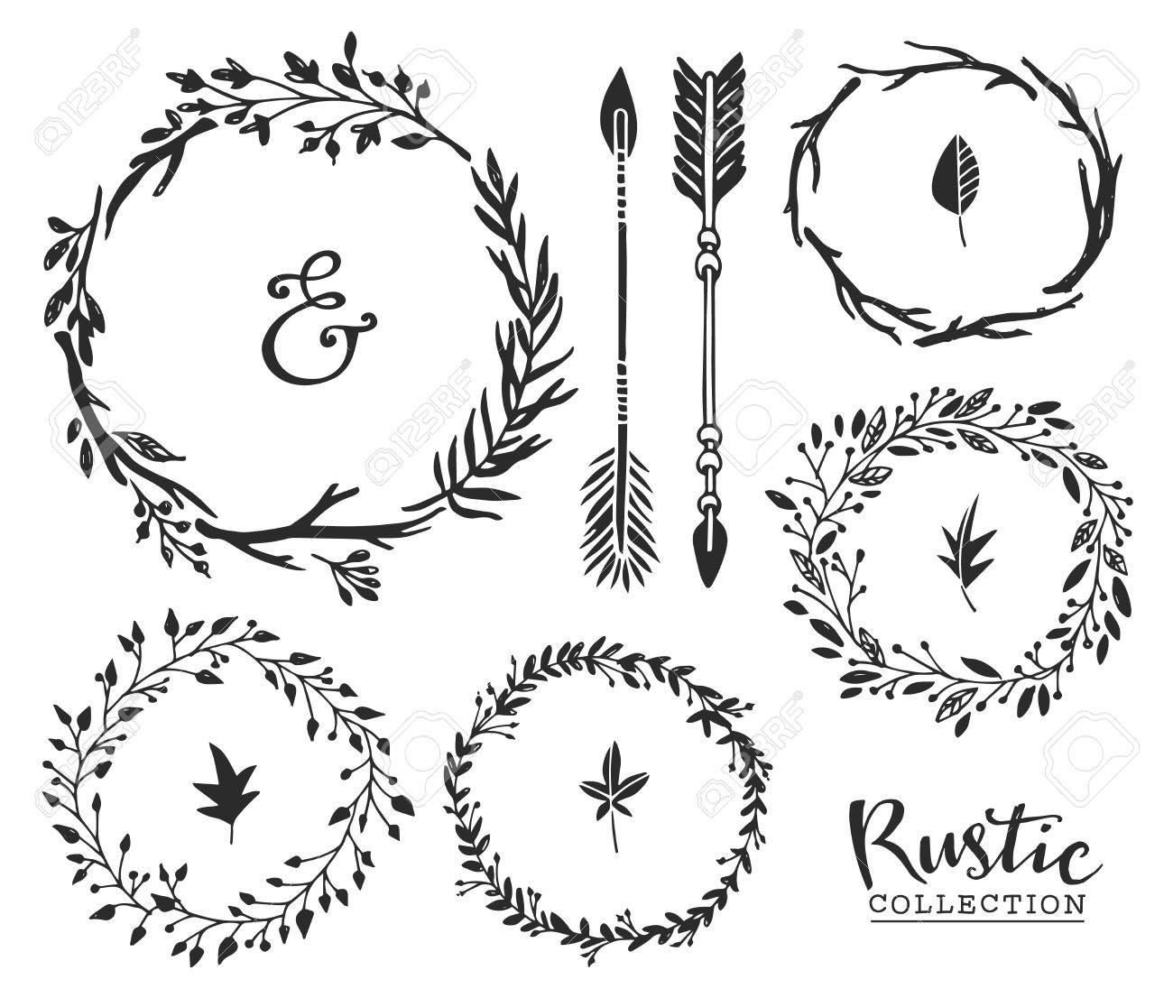 Hand drawn vintage ampersand, arrows and wreaths. Rustic.