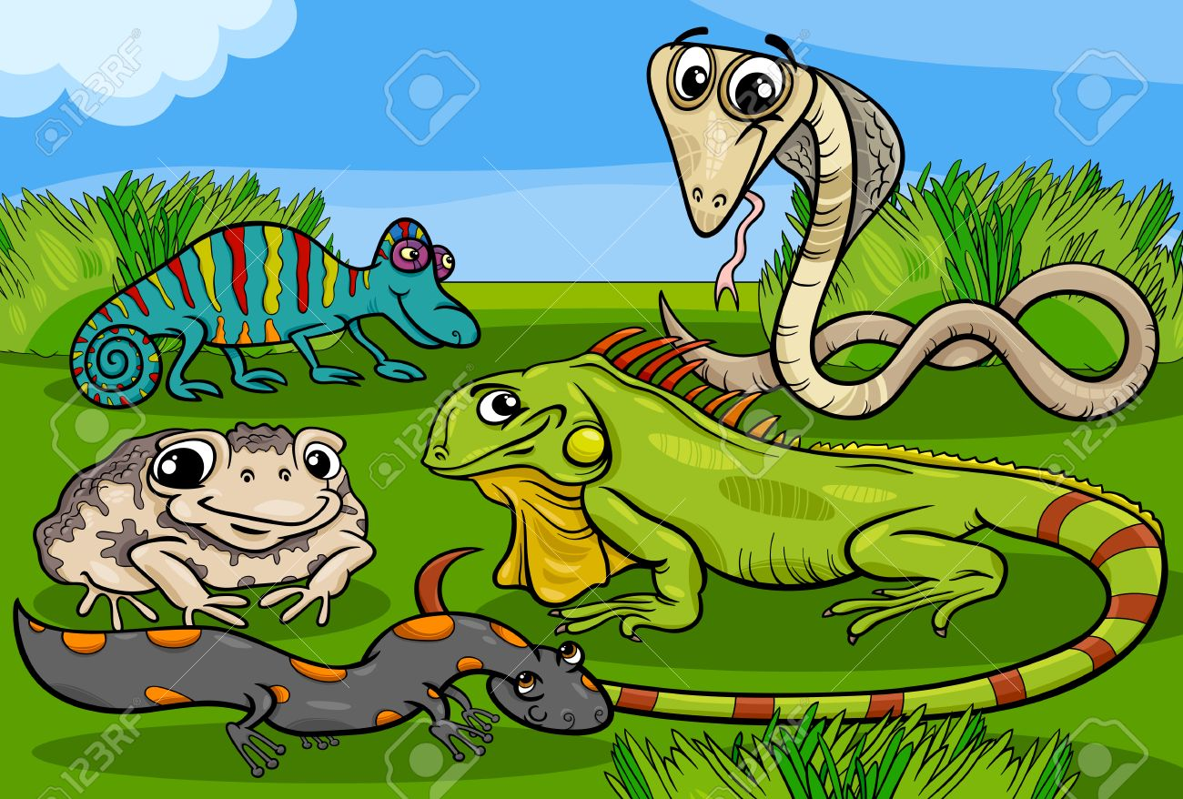 Cartoon Illustrations of Funny Reptiles and Amphibians Animals...