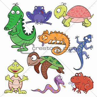 Image 4737181: Reptiles and amphibians doodle icon set.