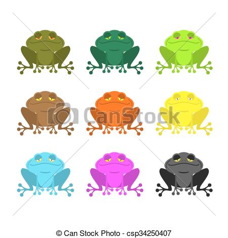 Vector Clipart of frog color Set . Colored toads. Woody Orange.