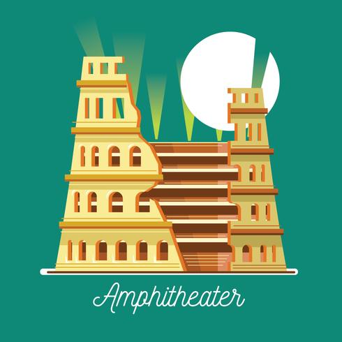 Vector Illustration of the Amphitheater in Flat Style.