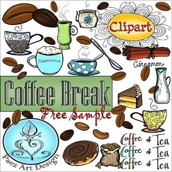 PAEZ ART DESIGN} FREEBIES! Coffee Break Clipart SAMPLE.
