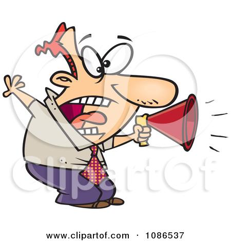 Clipart Businessman Shouting In A Megaphone.