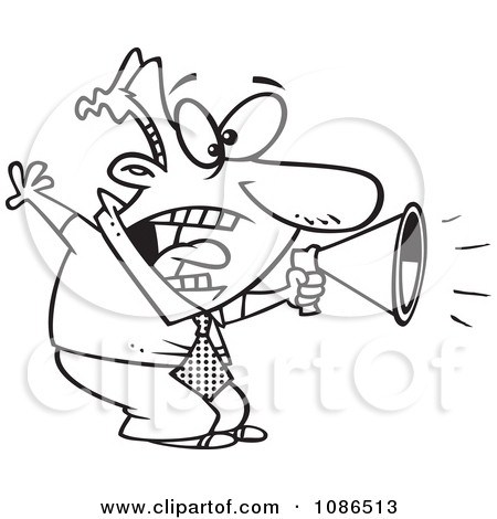 Clipart Outlined Businessman Shouting In A Megaphone.