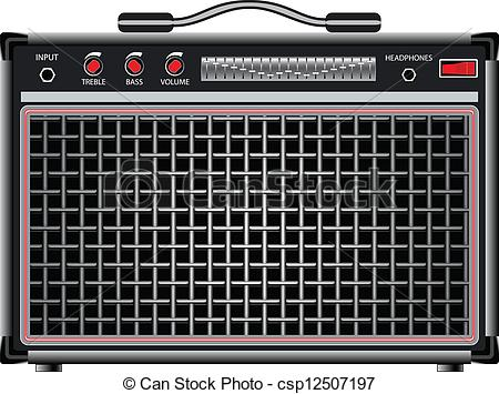 EPS Vectors of electric guitar amplifier against white background.