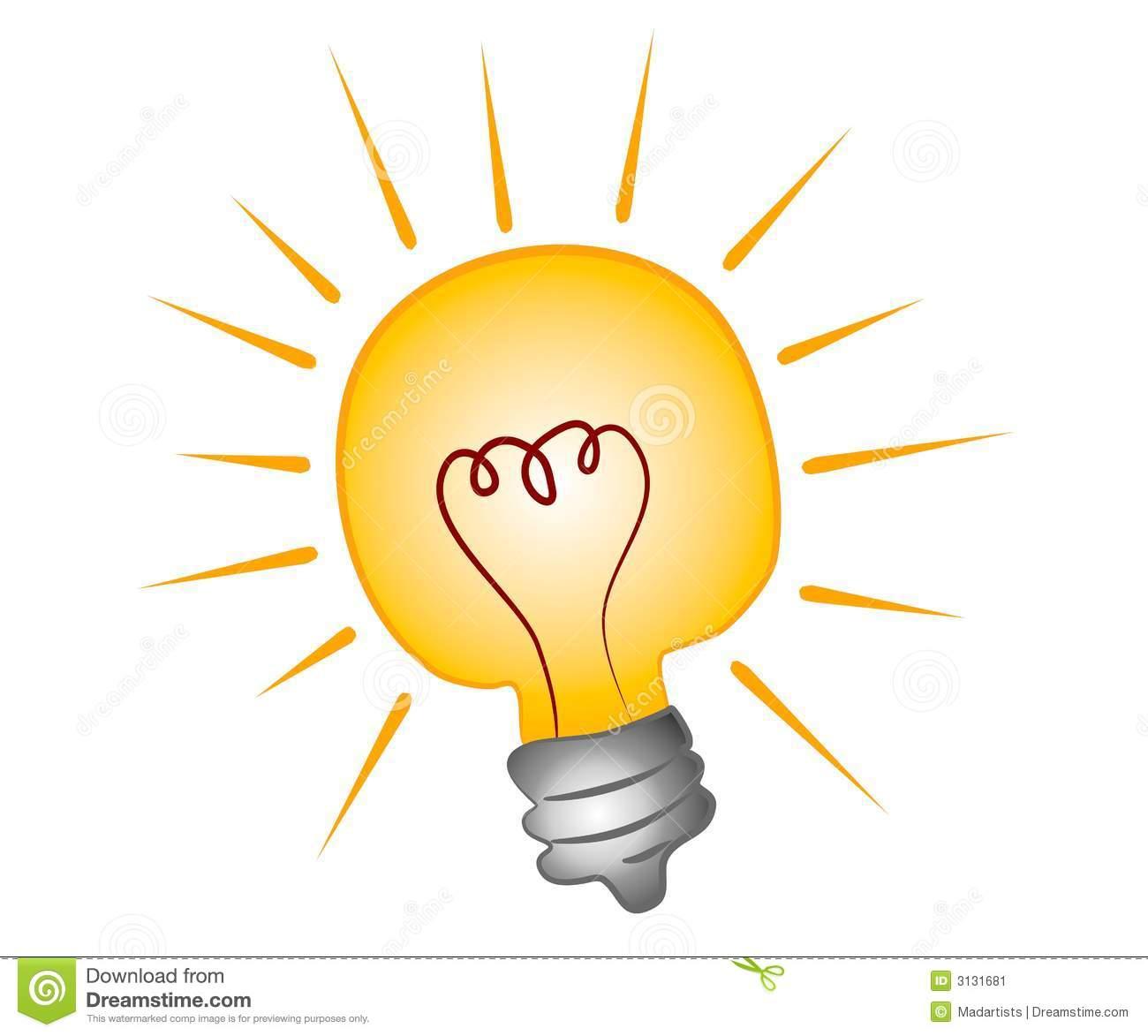 Bright Lightbulb Clip Art Stock Image.