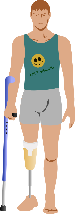 Poor man with amputated leg clipart.